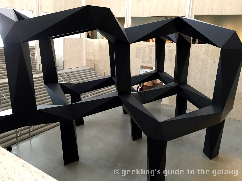 """Smoke"" was originally designed by Tony Smith in 1967, but this installation was built posthumously at LACMA in 2005."