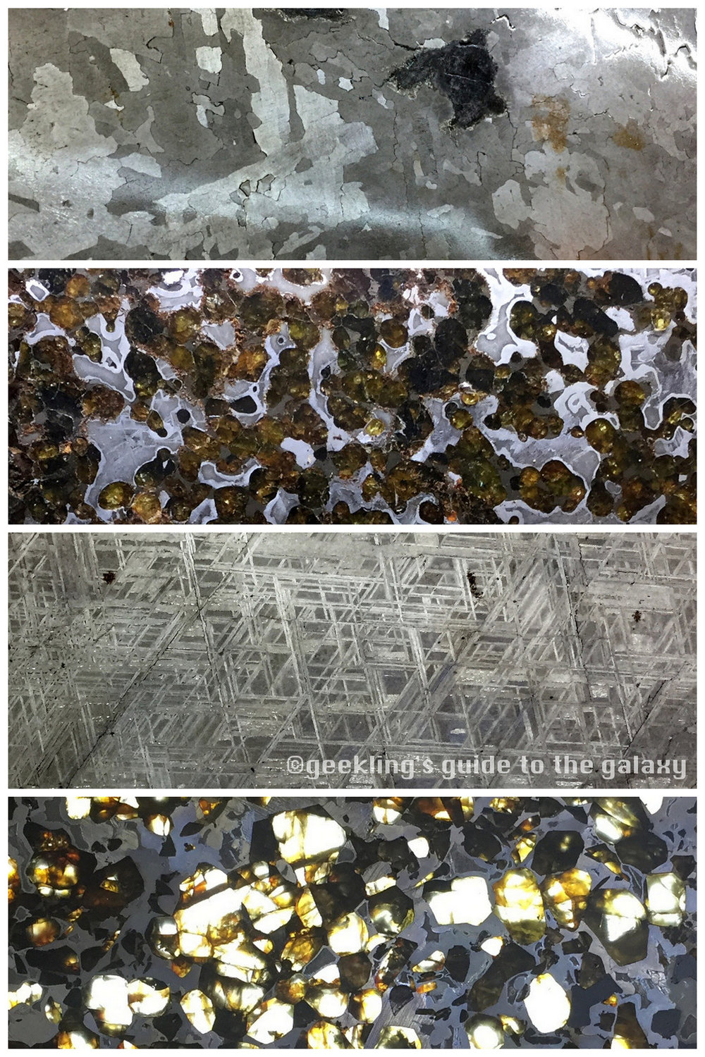 "From top to bottom: iron, pallasite, iron, and pallasite meteorites. All are made of iron, but the lighter spots of a pallasite are composed to ""olivine"" (an iron silicate) while the darker metallic parts are an iron-nickel."