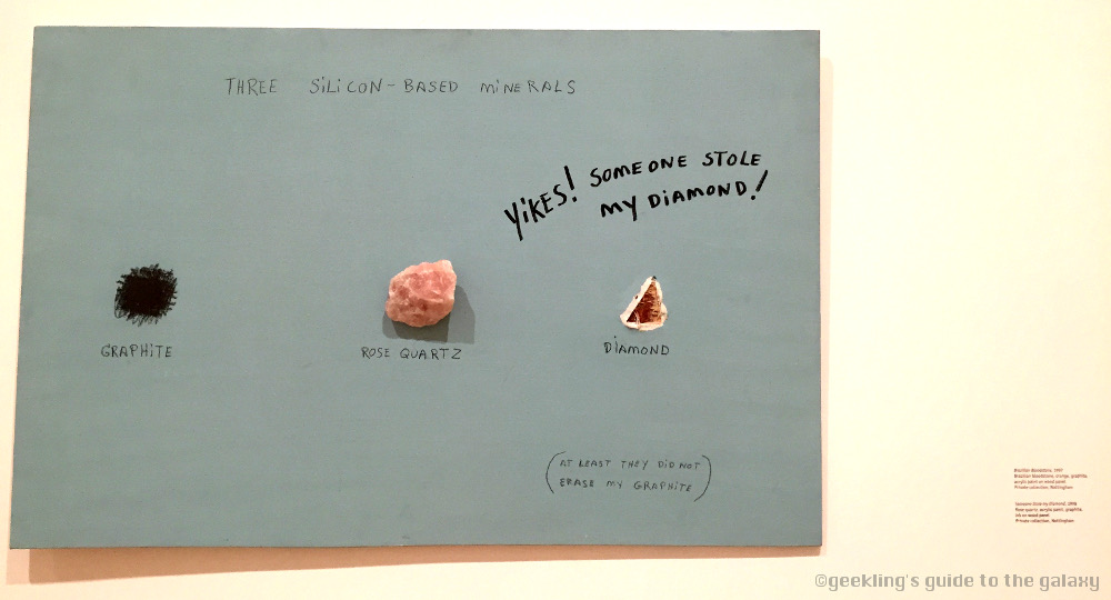 The attribution reads:  Someone Stole my Diamond , 1996. Rose quartz, acrylic paint, graphite in on wood panel. Private collection, Nottingham.