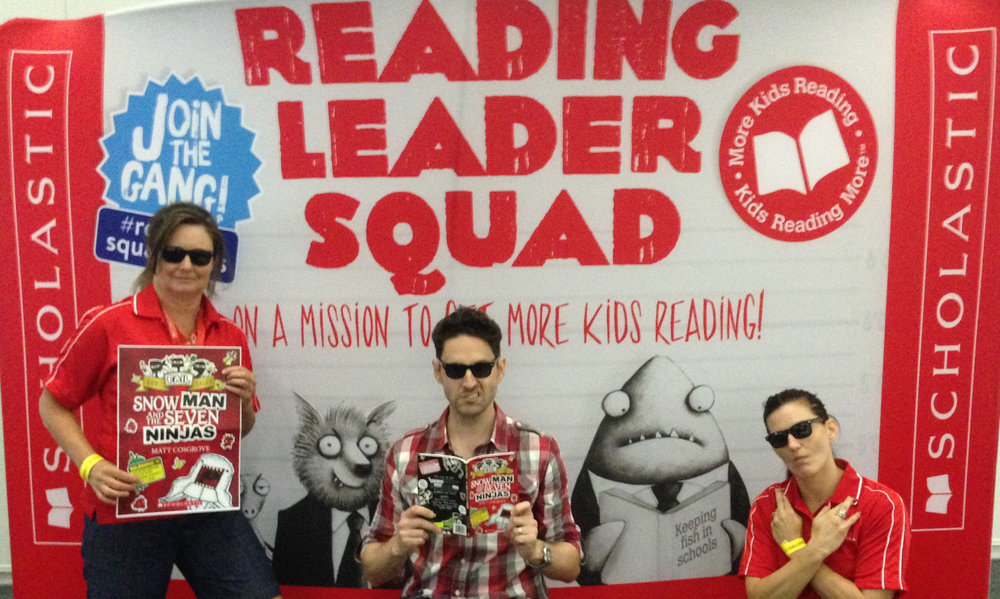 Doing my best Bad Guys face with the Adelaide Scholastic Team: on a mission to get more kids reading!