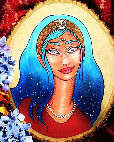 Celestial Gypsy -        Painting, 2017   Acrylic & glitter on wood           $150
