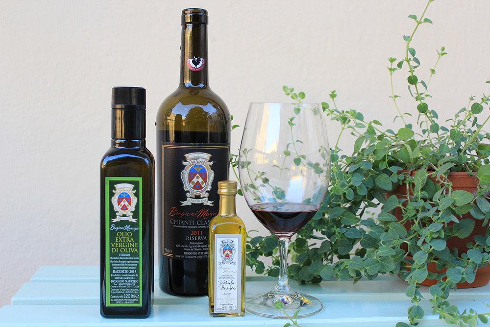 vin, tryffelolja, olivolja från toscana