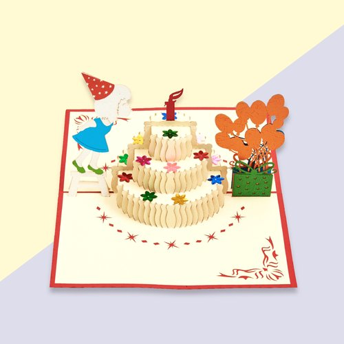 Happy Birthday Cake Female Pop Up Card