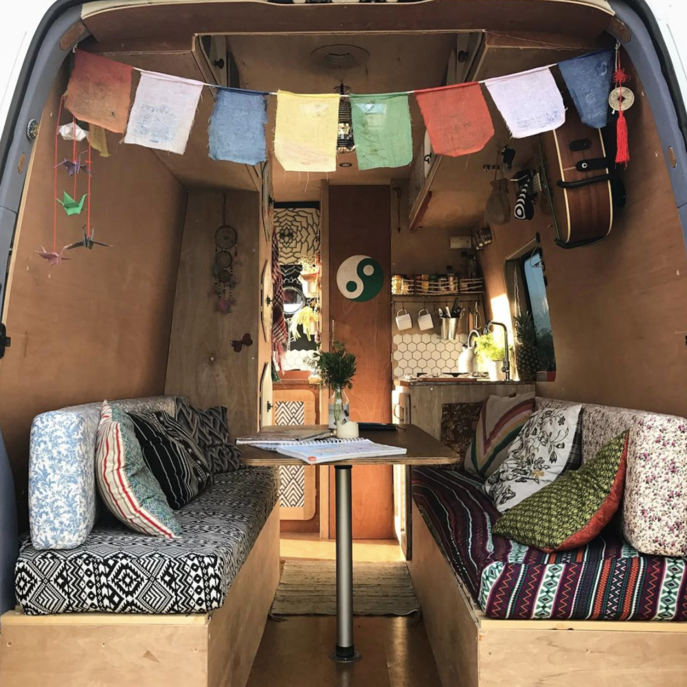 Above: Freddy and Gabriela fully converted the van to include a kitchen and enclosed shower!