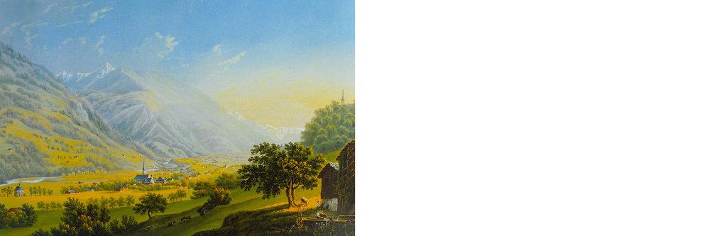 Trun    Johann Ludwig Bleuers Darstellung Truns von 1818 zeigt den historischen Dorfkern mit den ersten stattlichen, gemauerten und verputzen Häusern, welche wichtige Zeugen vom Gründungsort des grauen Bundes (1424) und dessen Gerichts- und Tagungsort bis ins 19. Jahrhundert sind. Frei in der Landschaft stehen die gestrickten Bau- ernhäuser für die Bewirtschaftung der Felder. Entlang der südlichen   Talflanke schmiegt sich der Vorderrhein mit der angrenzenden Auen  landschaft und dem Erlenwald.     Heute zeigt sich Trun mit einem intakten, historisch gewachsenen Dorfkern und einer relativ klaren Abgrenzung zur Landschaft. Südlich der Bahnlinie sind einzelne industrielle Betriebe entstanden.  Der zu bearbeitende Perimeter befindet sich innerhalb dieser idyl  lischen Auenlandschaft auf der fachen Talsohle nördlich des Vor  derrheins, immer aber noch mit Distanz zur südlichen Dorfstruktur   – etwas abgelegen – eine Welt für sich.    Sage und Legende    Die Qualität der bestehenden Campinganlage ist in erster Linie die Natur und die Lage im Tal,die Landschafts-kammern mit den umsäumenden Erlen, die spürbare Nähe zum Rhein, zum Wasser. In der Legende wird die Erle immer wieder mit Wunder und   Zauber in Verbindung gebracht. Oft steht sie für das Böse, ist das   Zeichen für bedrohliche, abgelegene düstere Moore, wo sie ideale Bedingungen für ihr Wachstum hat. Auch die mit magischen Kräften behaftete Wünschelrute aus Erlenholz half im Altertum der   Brunnennymphe Tuturna beim   Suchen von Wasserquellen.