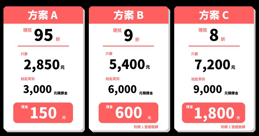 幣別:新台幣;體驗課不超過 台幣300元 (約USD 10) 為限。