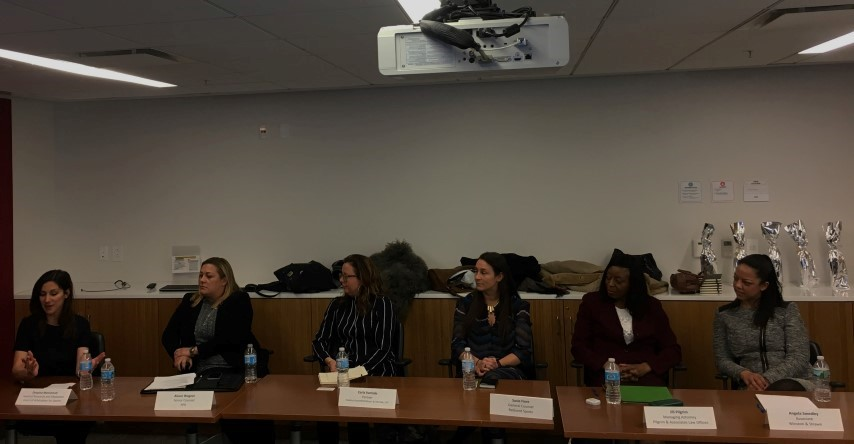 From left to right: Despina Mavromati (WISLaw), Alison Wagner, Carla Varriale, Susie Fiori, Jill Pilgrim & Angela Smedley. The Panel was moderated by Cameron Myler (WISLaw)