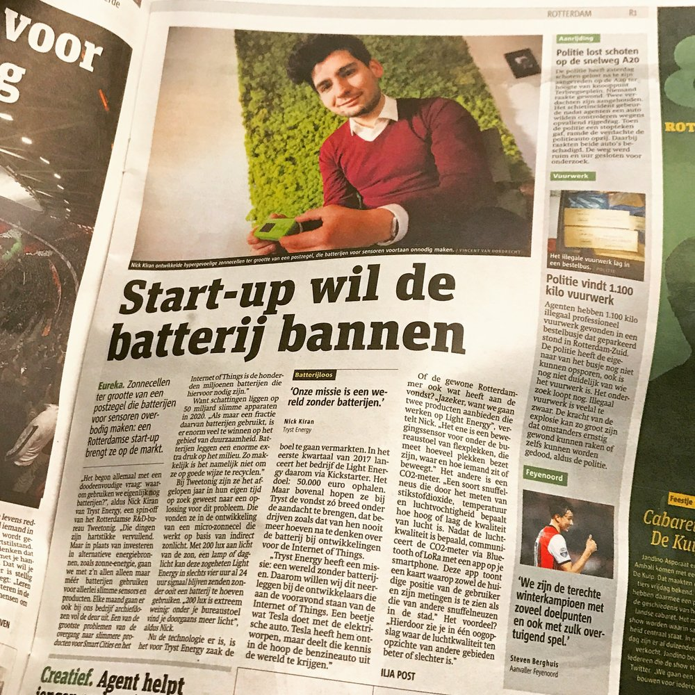'Start-up want to ban the battery', by Ilja Post for Metro