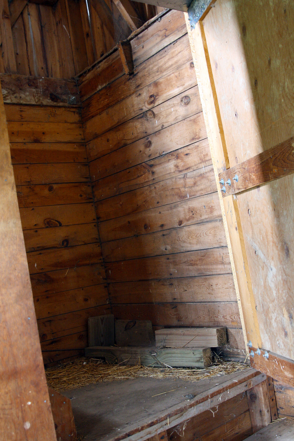 The entrance to the staircase inside the barn.