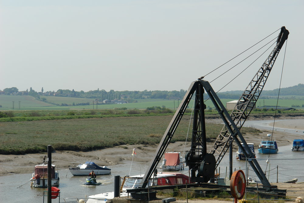 The atmospheric Wat Tyler Marina stands on the site of the goods wharf of the Pitsea Explosives Factory. The crane is a surviving relic.
