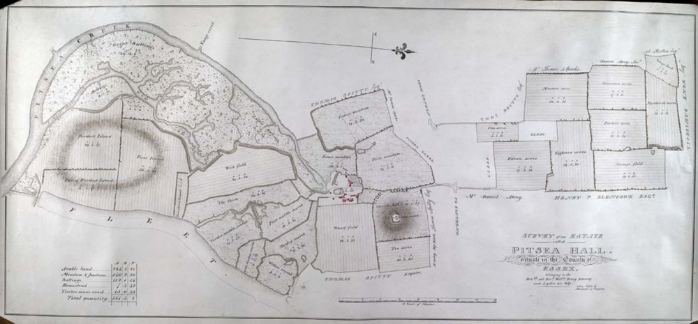 A map of Pitsea Hall showing the natural rise of the land