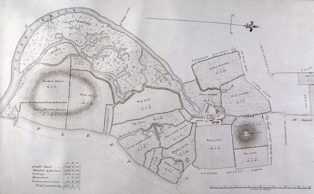 Part of the lands of Pitsea Hall Manor in 1824. Today's park sits on the land between Timbermans Creek and Piseahall Fleet.