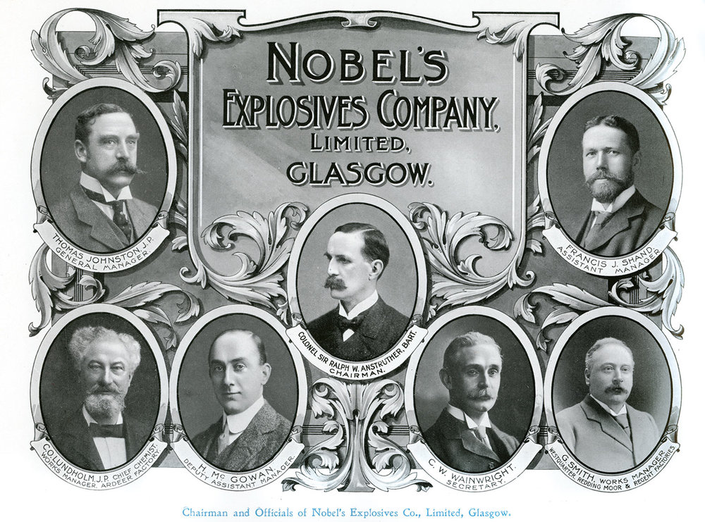 Executives of Nobel's explosives company based in Glasgow.