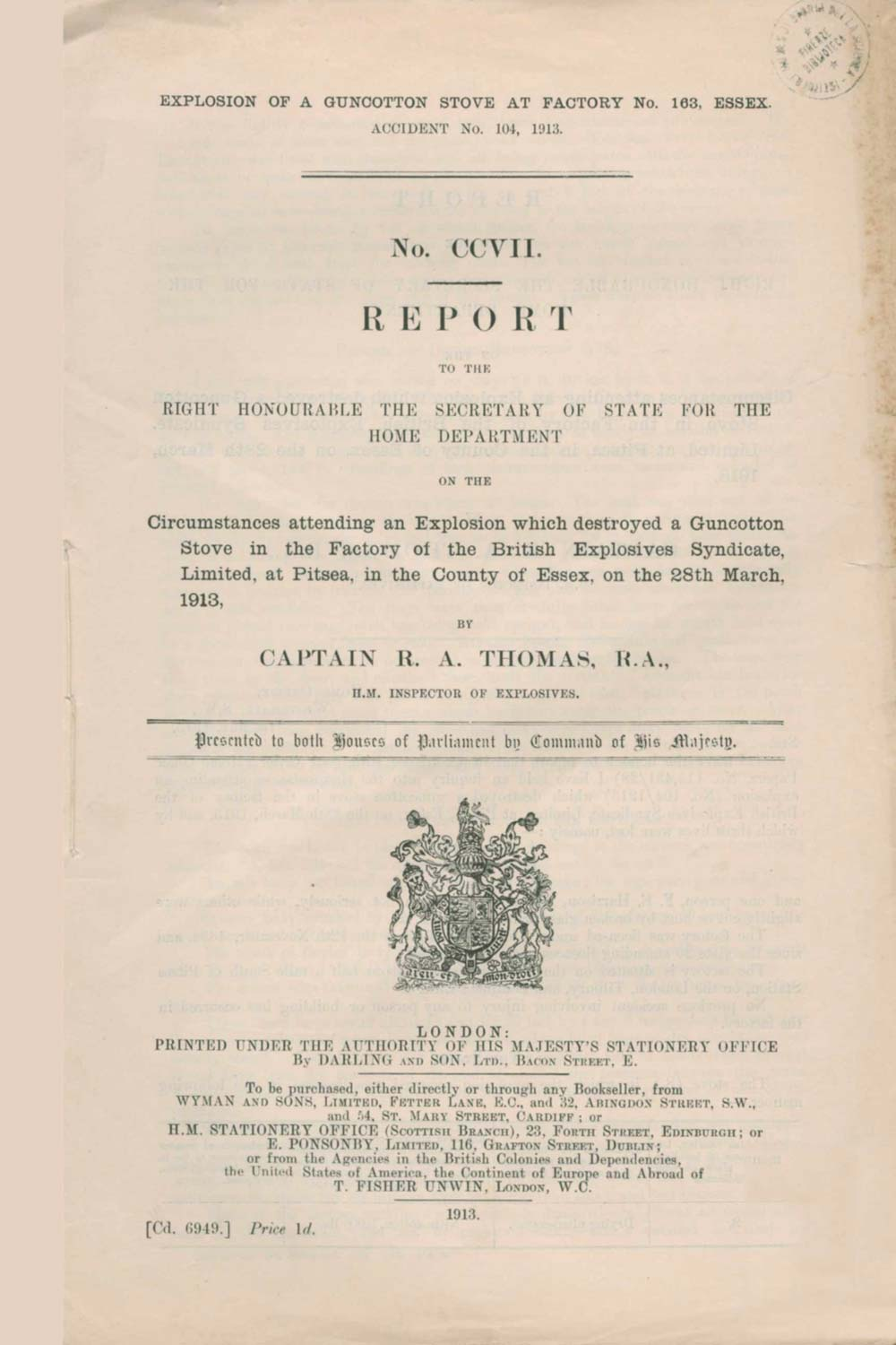 The cover of the government report into a fatal explosion in a guncotton stove at Pitsea.