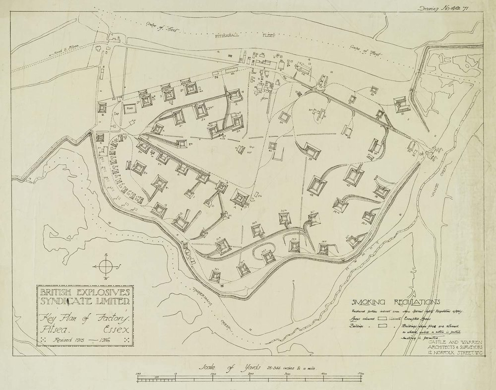 Site plan of the British Explosives Syndicate factory at Pitsea (courtesy RIBA)