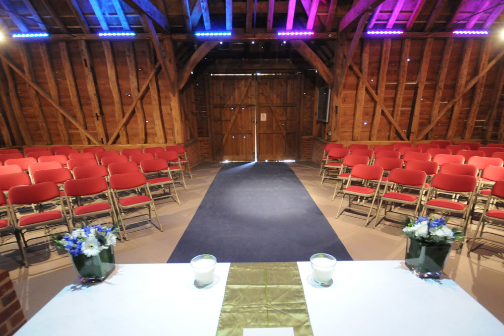 The focal point for the happy couple in the heritage barn