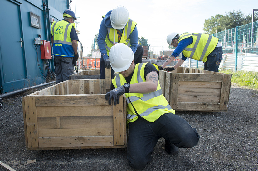 Volunteers learn skills in carpentry and working as part of a team