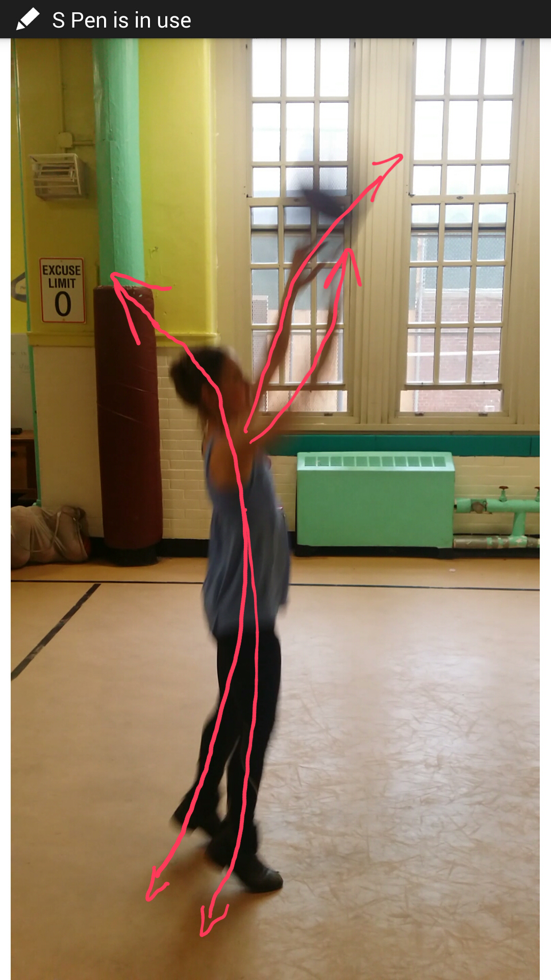 Exhibit B: poor shooting form, power of jump lessened by backwards pulls, arms not working together.