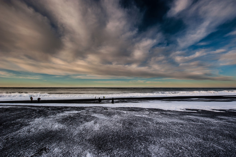 The black beach during winter.  Atlantic-ocean ahead