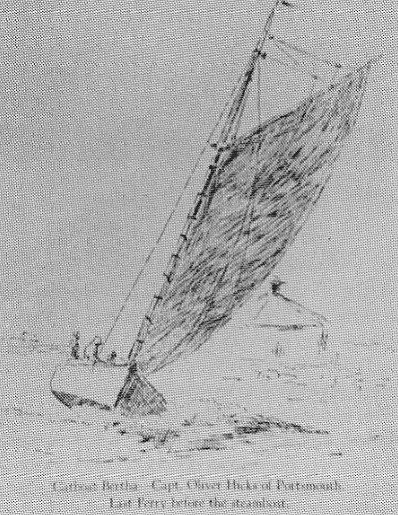 An artist's rendition of Oliver Hicks' sail ferry.