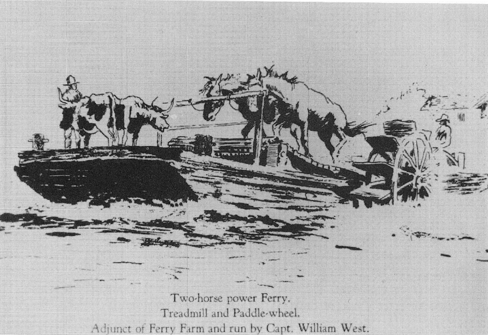 An artist's conception of the horseboat employed at Bristol Ferry in the 1830s and 1840s.