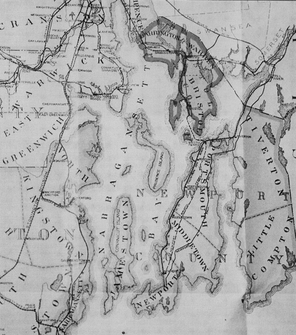 A railroad map showing the connections from Newport to the rest of Rhode Island.