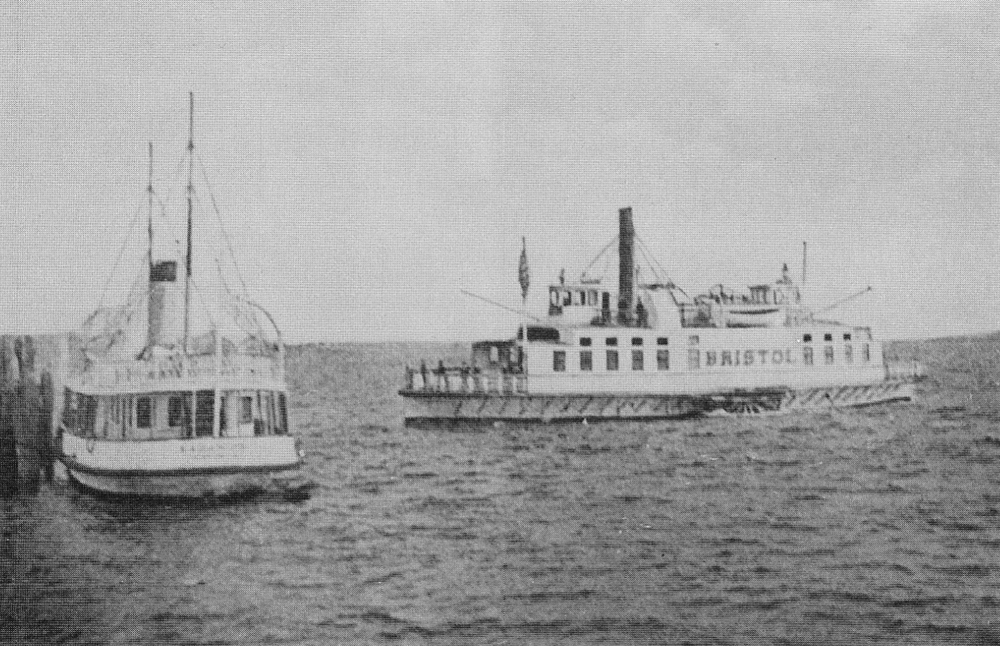 The two Bristol ferries are shown in this postal view, the Sagamore at left and the Bristol.
