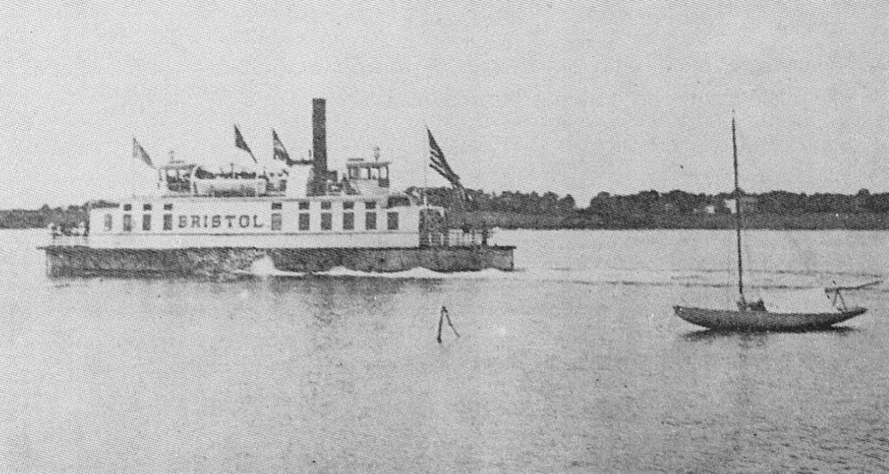 The Bristol steams through Bristol Harbor in this postcard view.