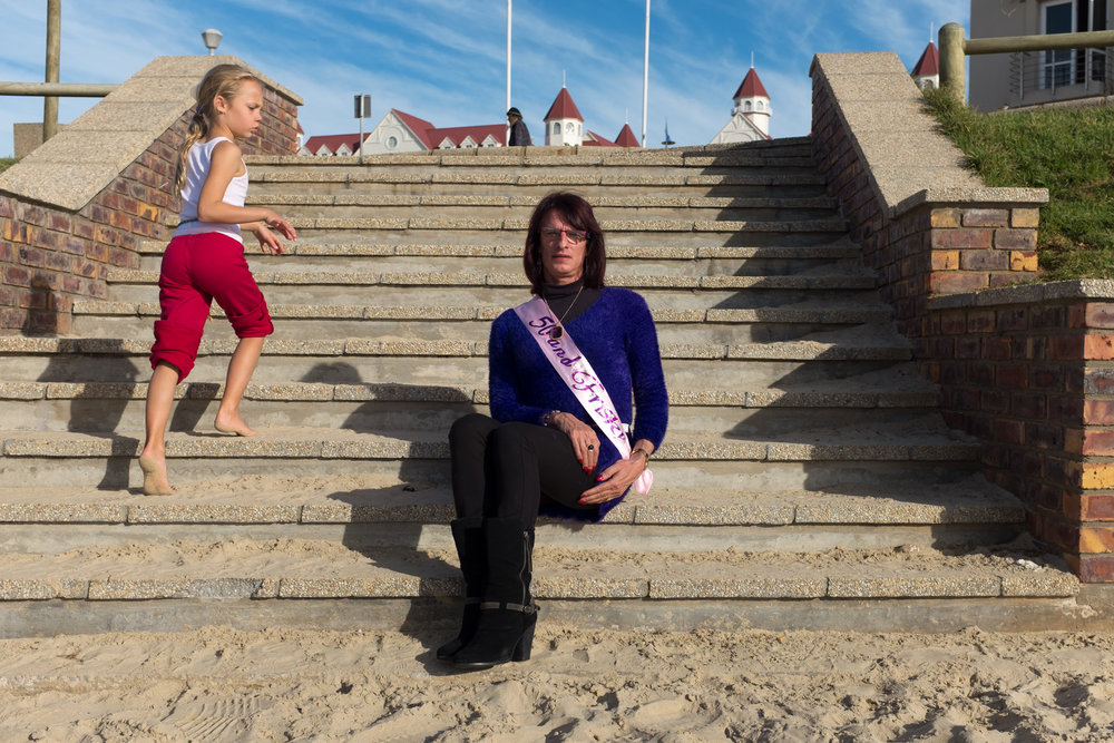 Port Elizabeth  A transvestite celebrates her 50th birthday at the beach front.  Format: Hahnemuhle Photo Rag Size: 11.69 x 16.53 inches (A3) Signed, Edition of 20 Price increases as Edition sells R1800 (approx. $130)