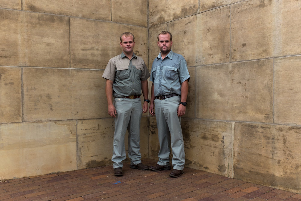 Bloemfontein  Twin brothers at the Vroue Monument.  Format: Hahnemuhle Photo Rag Size: 11.69 x 16.53 inches (A3) Signed, Edition of 20 Price increases as Edition sells R1800 (approx. $130)