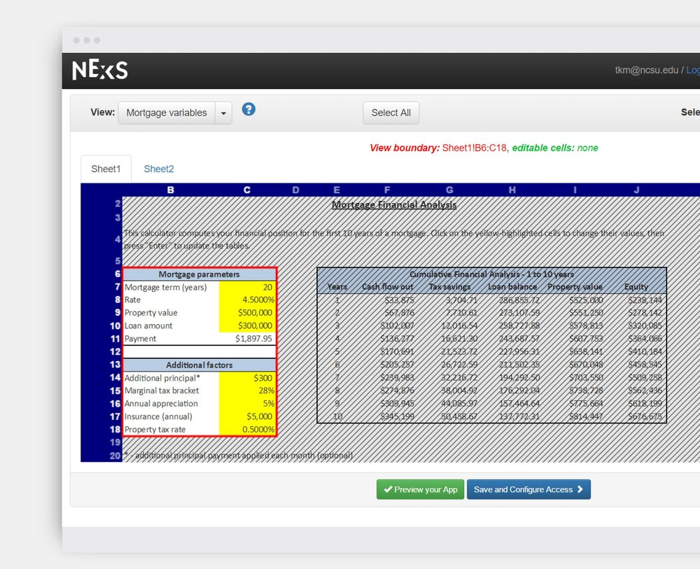 CONFIGURE YOUR NEW WEB APP - 1, Click OK in the upper right to create your first view. We'll call this view Mortgage variables.2, Set the cells to put in this view. To set a range, click on the first cell in a cell range.3, Click OK to set the view boundary. This defines a range of viewable cells, and the range becomes outlined.