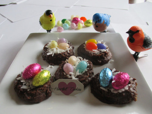 No Bake Cookies pictured with birds egg nest  Availalble in G F , S F ,  Keto and Vegan