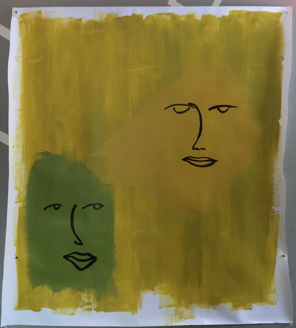 "A yellow and a green face on a yellow ground, Acrylic, 42""x48"""