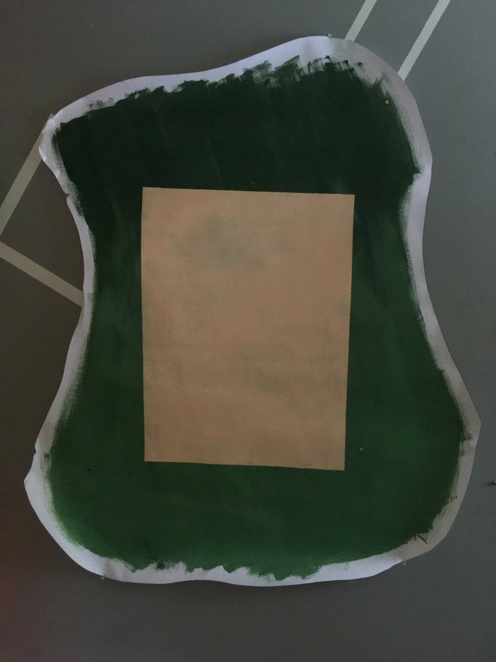 "Green blob with a fleshy rectangle, 44""x54"""
