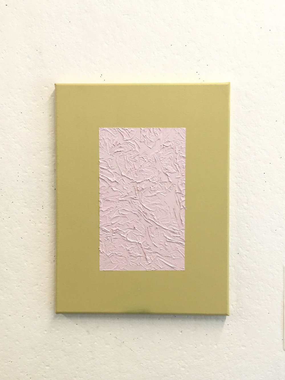 "Pink on Dingy Yellow, 12""x16"""