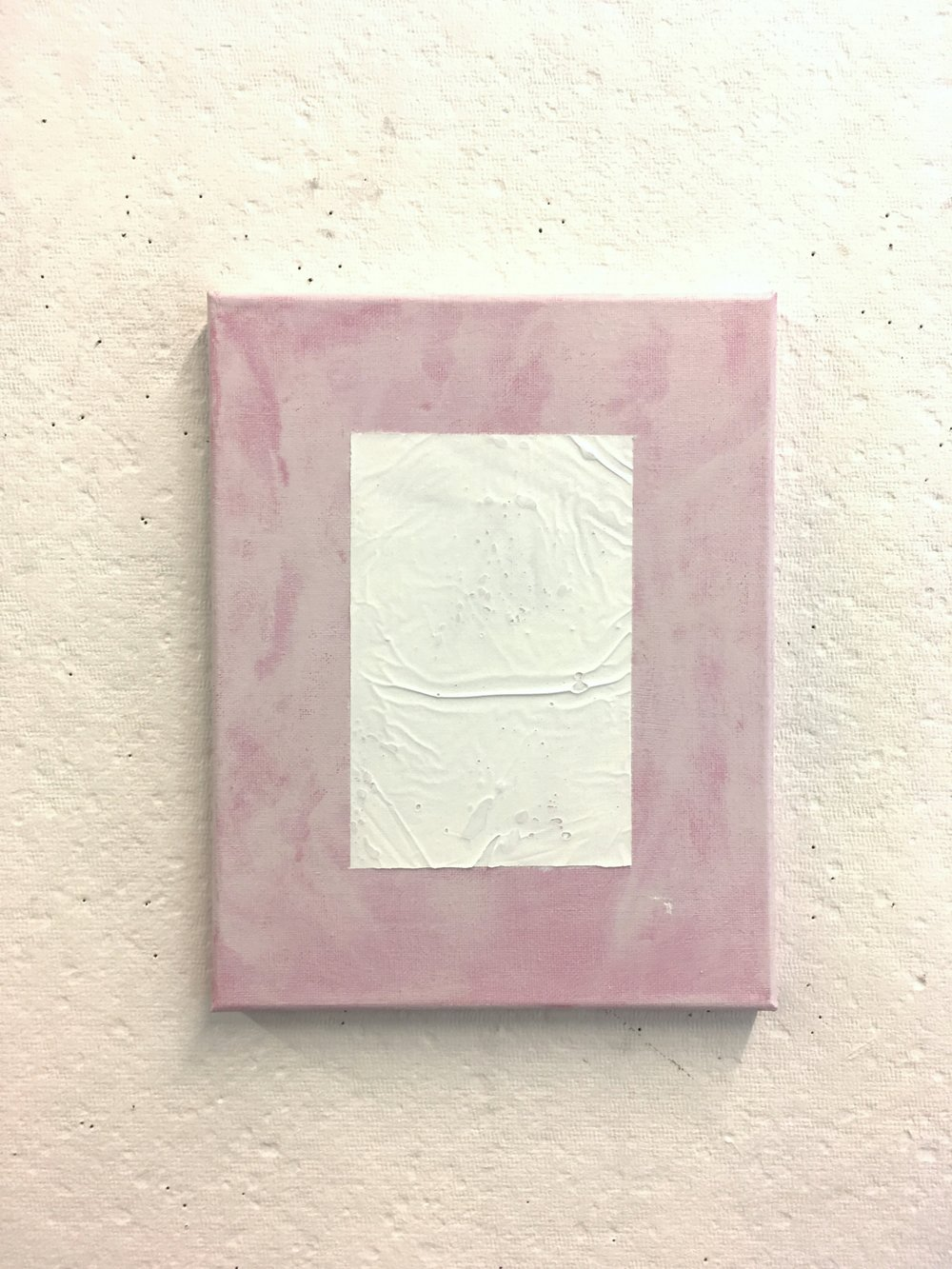 "White over Patchy Pink, 8""x10"""