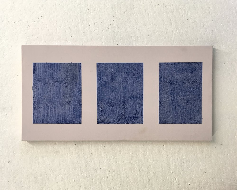 "Blue Triptych over Pink, 12""x24"""