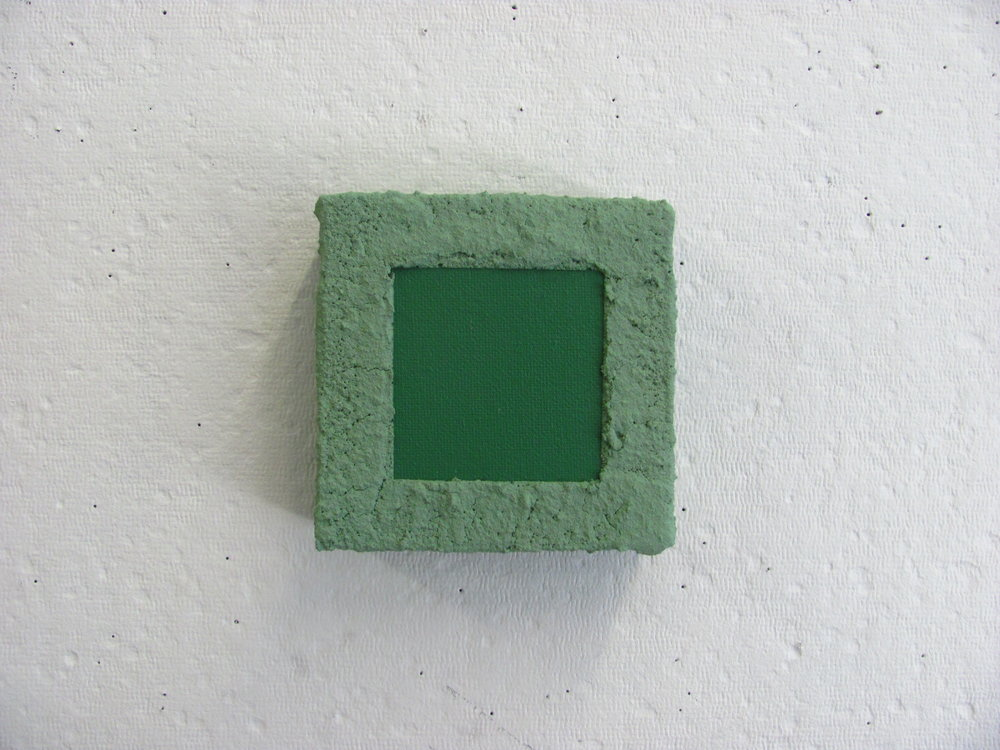 "Sandy green on green, 6""x6"""