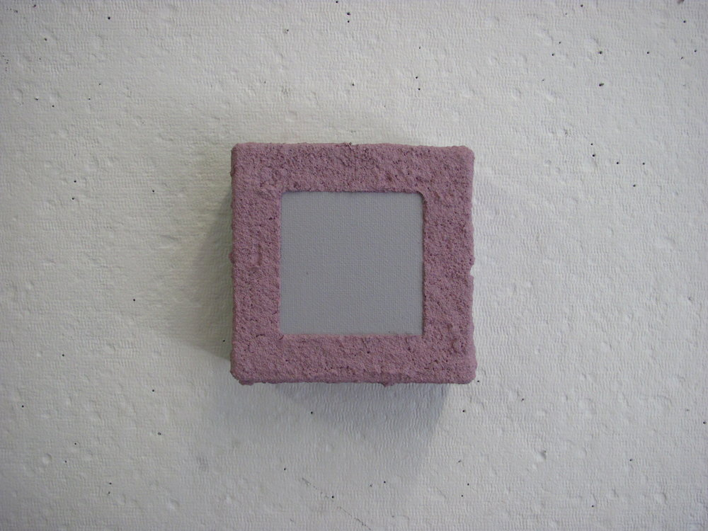 "Sandy pink drip over grey, 4""x4"""