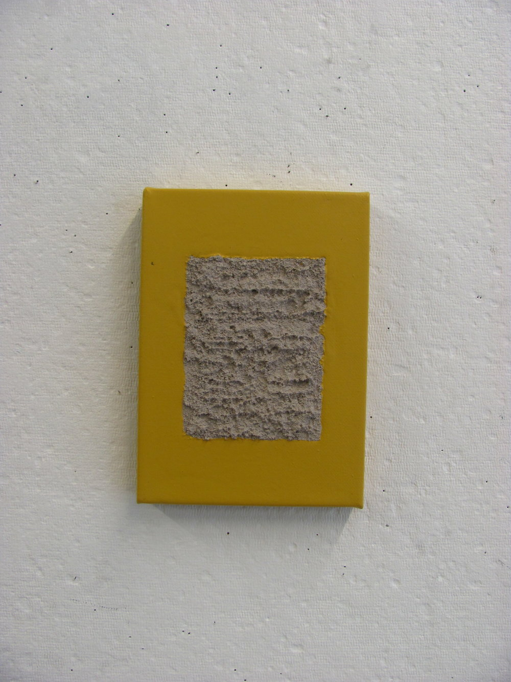 "Yellow pour around sandy grey, 5""x7"""