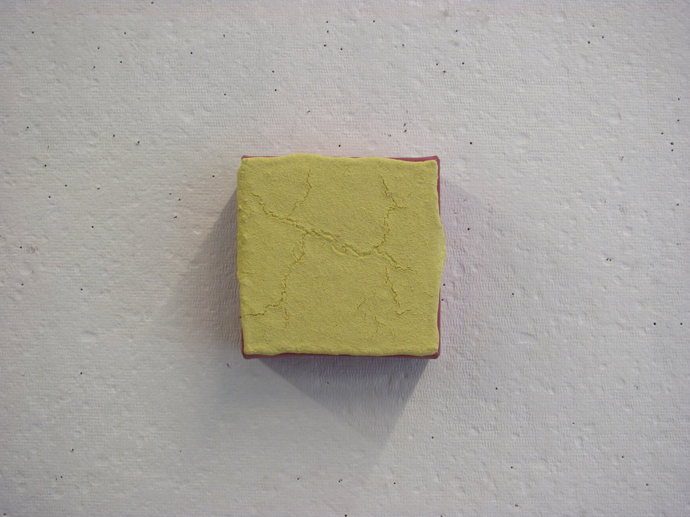 "Sandy yellow dripping off purple, 4""x4"""
