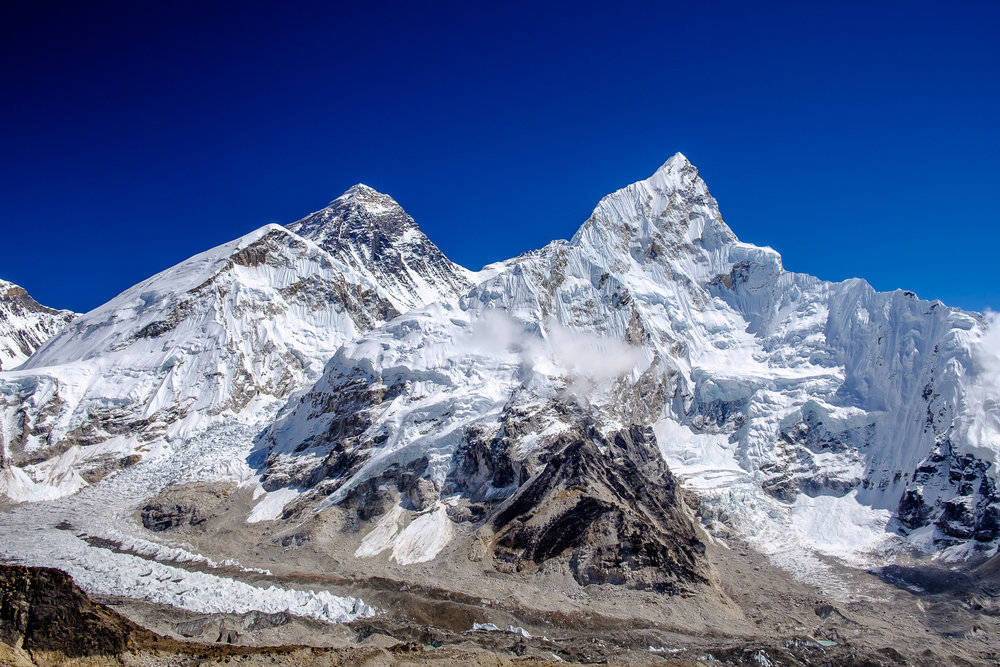 Mount Everest (8,845m) on the left, Nuptse (7,861m) on the right
