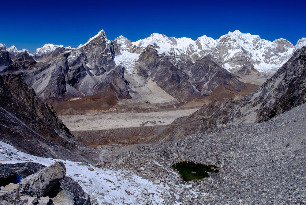 Looking back at Lobuche and the Khumbu Glacier