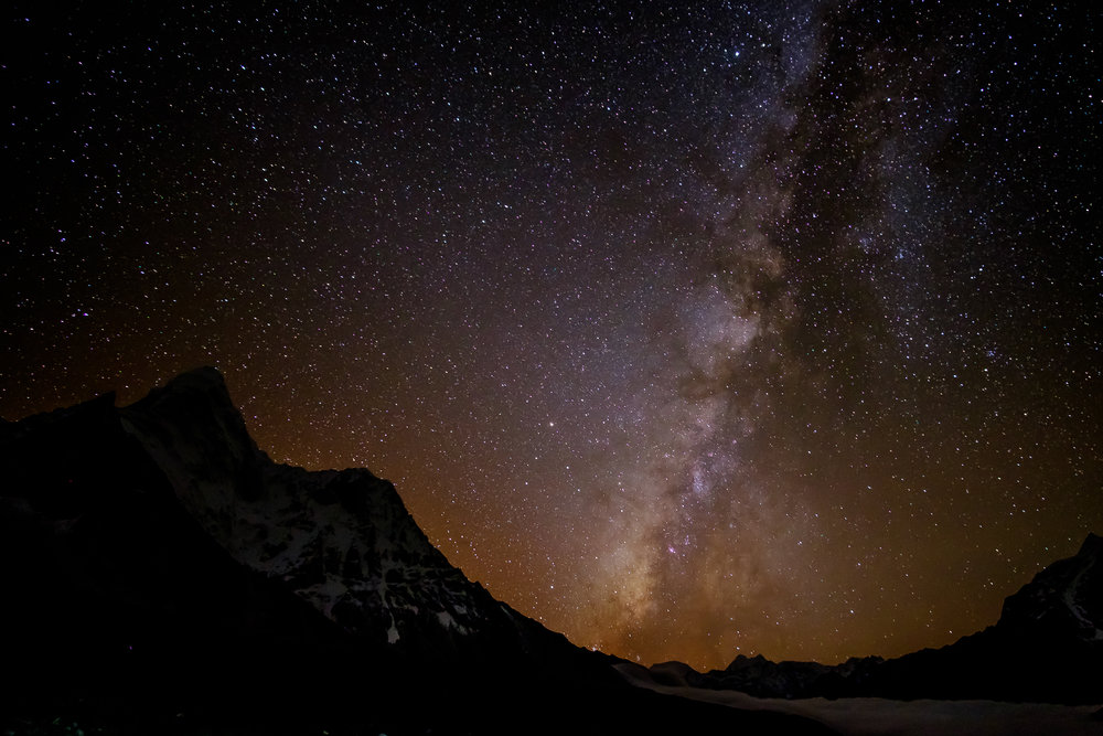 Milky Way by the Amadablam. Residual light from sunset still visible.