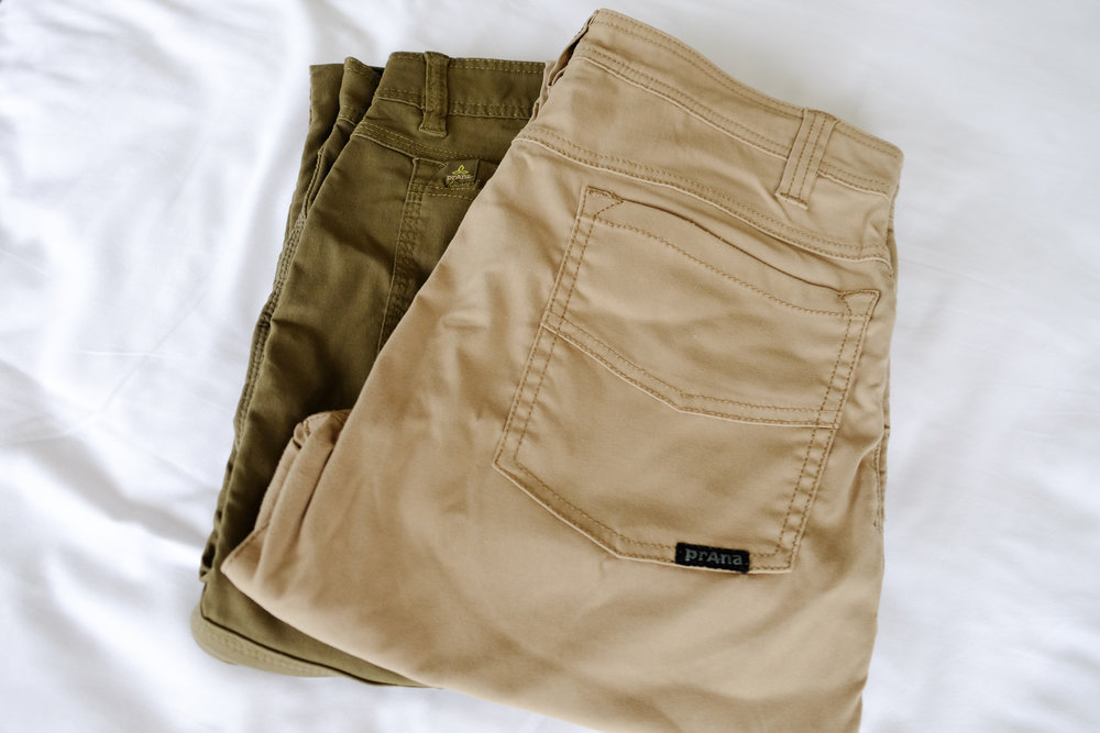 Prana Zion  pants on the left,  Prana Brion  pants on the right