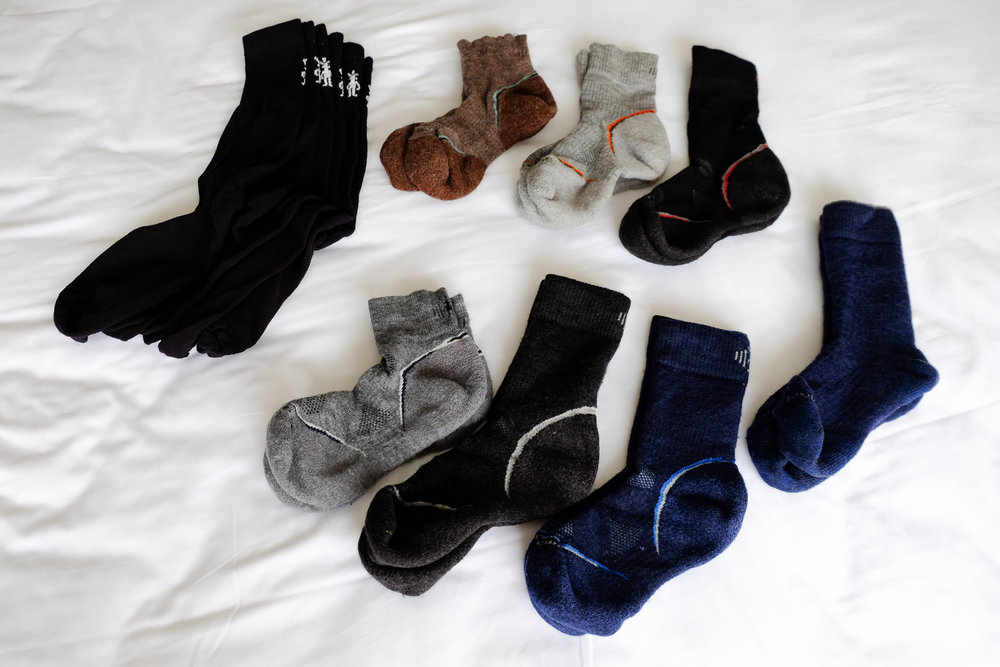 Smartwool merino wool socks, clockwise:  Light Mini ,  Light Mid Crew ,  Light Crew ,  Heavy Crew ,  Medium Crew ,  Medium Crew ,  Medium Mini ,  3x Liners