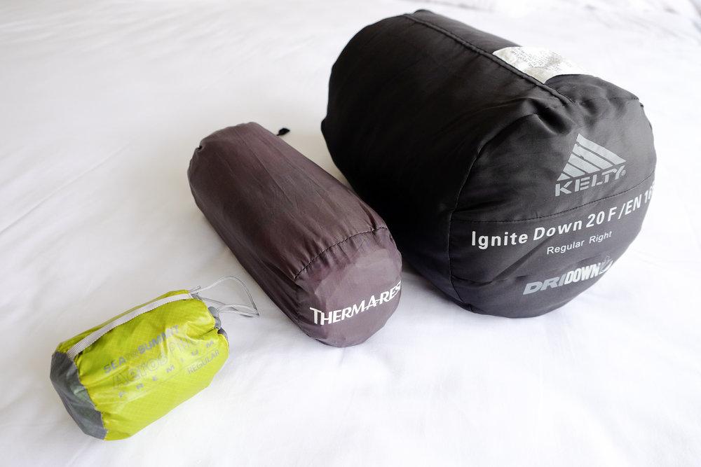 Sea to Summit Aero Pillow Premium ,  Thermarest NeoAir sleeping pad  &  pump sack ,  Kelty Ignite Dri-Down 20
