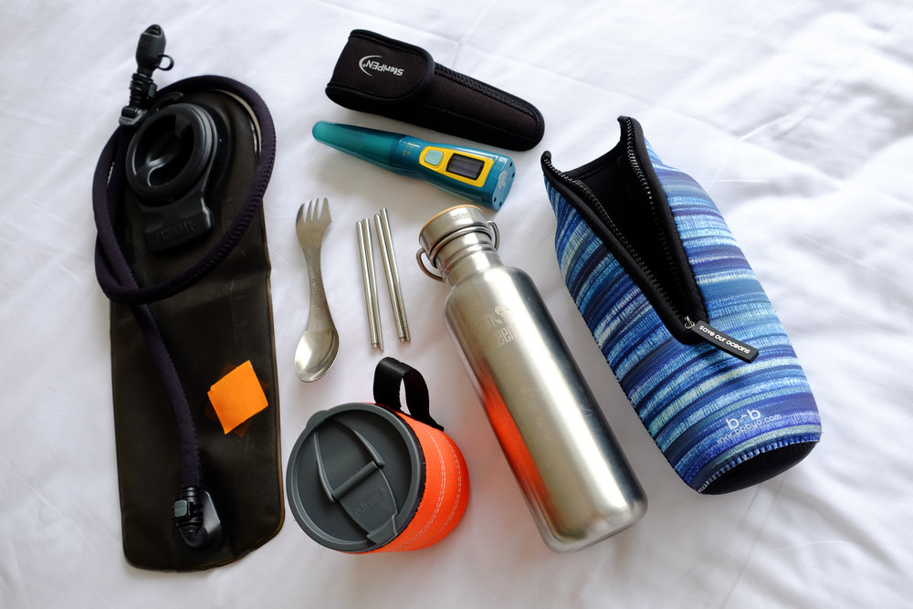 Camelbak Omega 3L Hydration Pack ,  SteriPEN Ultra ,  Light My Fire Ti Spork ,  GSI Outdoors Infinity Mug ,  Klean Kanteen Reflect ,  Bottleskinn by BBBYO