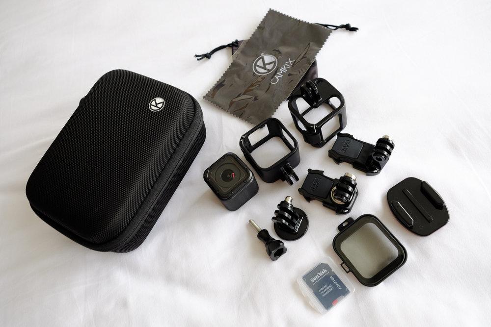Camkix Case ,  GoPro Session ,  Low Profile Swivel Mount ,  GoPro Grab Bag ,  AmazonBasics Tripod Mount ,  PolarPro Polarizer ,  Sandisk Ultra 64GB microSD
