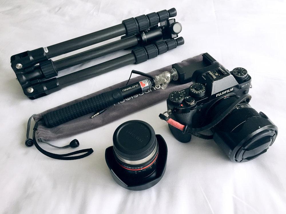 Fujifilm X-T1  w/  EC-XT L Eyecup ,  Fujinon XF18-55 F2.8-F4 ,  Rokinon 12mm F2.0 ,  Benro C068M8 Tripod w/ B-00 Head , Newisland  Selfie-stick